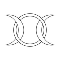 Moon goddess vector sign. Symbol of the waxing, full and waning moon.