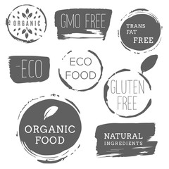Healthy food icons, labels. Organic tags. Natural product elements. Logo for vegetarian restaurant menu. Raster illustration. Low fat stamp. Eco product.