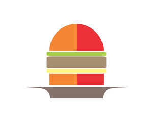 burger fast food culinary dish cuisine eat delicious image vector icon