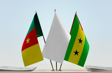 Flags of Cameroon and Sao Tome and Principe with a white flag in the middle