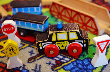 Children's Wooden Police Car Toy