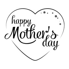 Hand Drawn elegant modern lettering of Happy Mother's Day isolated on white background. Monochrome greeting card. Vector illustration for Holiday Collection.