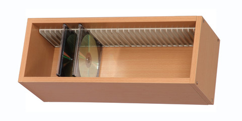 Wooden CD rack isolated on white with clipping path.