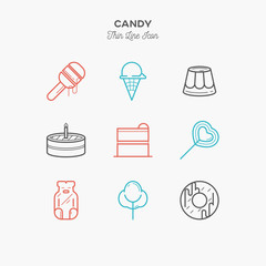 Line icons of Candy products, from cake and sweets to candy shop, donut, ice cream, jelly candy, cotton candy and lollypop. Sweets icons set.