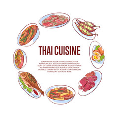 Thai cuisine poster with famous asian dishes vector illustration. Restaurant menu cover wit tom yam soup, steamed rice, satay skewers, green curry, fish and crabs, noodles with shrimp, papaya salad.