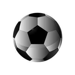Realistic Football icon, Fottball logo isolated in black and white