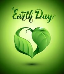 Nature coeur feuilles. Earth Day. Journée de la Terre