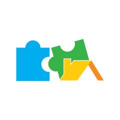 Roof Puzzle Logo Icon Design