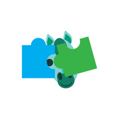 Horse Puzzle Logo Icon Design