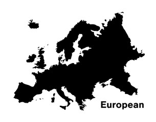 black silhouette european map on white background
