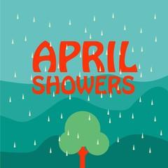 April Showers Vector Template Design