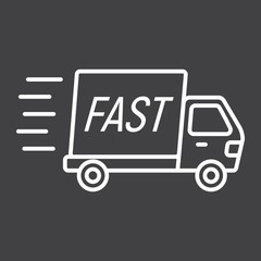 Fast shipping line icon, delivery truck,