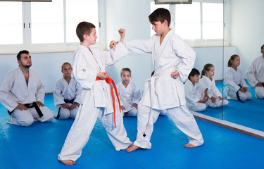 Friendly ordinary boys training in pair