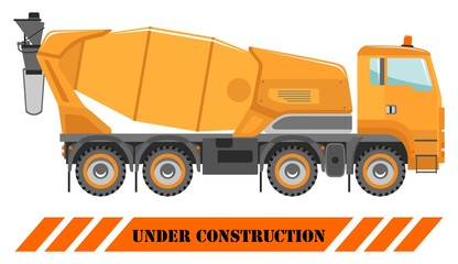 Concrete mixer. Heavy construction machines. Heavy equipment and machinery. Building technique. Vector illustration.