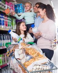 family purchasing kefir