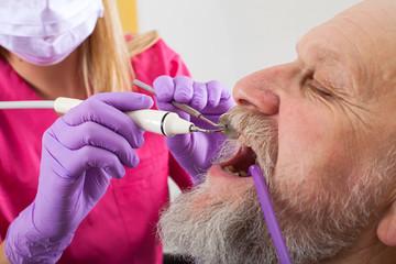 Elderly patient on dental treatment