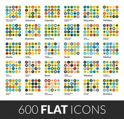 Large icons set, 600 flat color vector pictogram with round