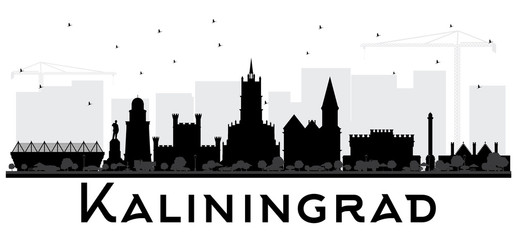 Kaliningrad Russia City Skyline Silhouette with Black Buildings.