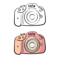 Photo camera in cartoon style. Pink color and linear version.