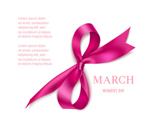 Internatinal Women's Day design template with decorative pink bow isolated on white background. Vector abstract number 8