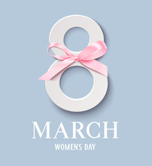 Happy Women's Day. Decorative 8 number with pink bow isolated on blue background. Vector illustration. International Womens Day design