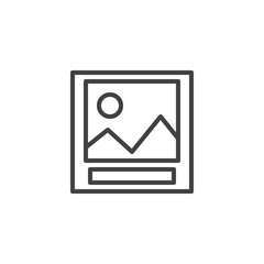 Landscape photo outline icon. linear style sign for mobile concept and web design. Picture simple line vector icon. Symbol, logo illustration. Pixel perfect vector graphics