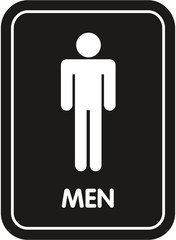 black restroom sign men