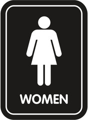 black restroom sign women