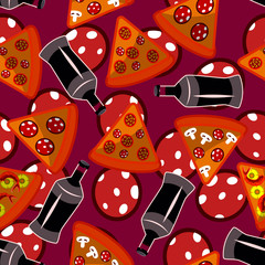 seamless pattern with pizza,  bottles and pepperony