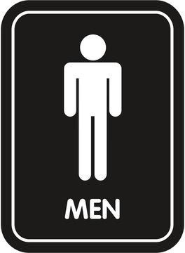 black restroom sign men