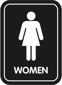 black restroom sign women