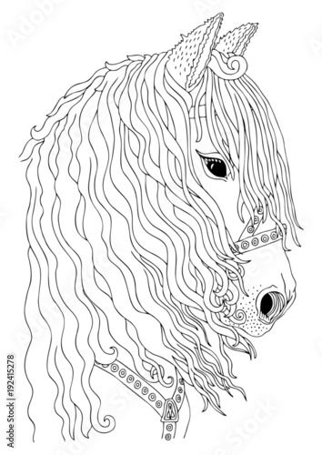 Hand Drawn Horse Head Sketch For Anti Stress Adult Coloring Book In Zen