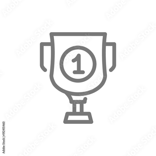 Simple Trophy And Award Cup Line Icon Symbol And Sign Vector