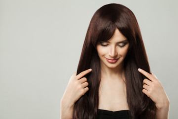 Beautiful Young Woman with Healthy Brown Hair Beauty Portrait, Closed Eyes