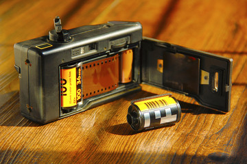 View of film camera with film roll inside