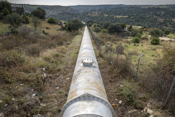 Water pipeline for drinking water supply to the Community of Madrid, Spain. Photo take in the municipality of Colmenar Viejo