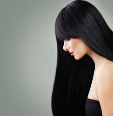 Beautiful Hair Woman Portrait. Woman Face on Background
