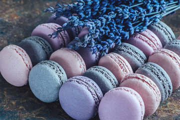 Freshly baked macaroons close-up, selective focus.