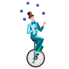 Juggler on a unicycle. Circus man in a cylinder juggles balls. Vector illustration.