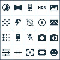 Photo icons set with photographing, image, camera front and other lightning