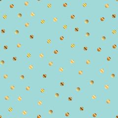 Golden dots seamless pattern on blue background. Memorable gradient golden dots endless random scattered confetti on blue background. Confetti fall chaotic decor. Modern creative pattern.