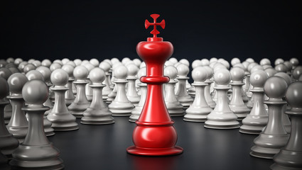Red chess king standing among white pawns. 3D illustration