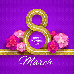8 March International women's day greeting card - glitter gold ribbon in the shape of sign eight and flowers. Vector illustration.