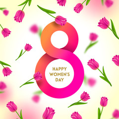 8 March International women's day greeting card -  paper figure eight on a background with tulips. Vector illustration.
