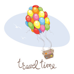 Travel time /  Vector illustration, suitcases fly on balloons on vacation