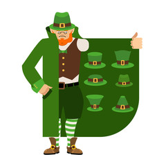 St Patricks Day. Leprechaun Smuggler selling green hat. Cloak-seller holiday attributes. Dealer in hat and coat . Bootlegger. Seller prohibited goods of black marke. Legitimate trade.