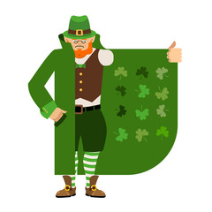 St Patricks Day. Leprechaun Smuggler selling Shamrock. Cloak-seller holiday attributes. Dealer in hat and coat . Bootlegger. Seller prohibited goods of black marke. Legitimate trade.