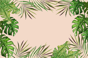 Exotic tropical palm tree. Frame border background. Summer vector illustration. Template for card