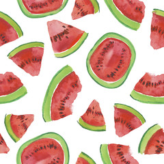 Trendy fruit pattern. Artistic Watermelon background. Watercolor watermelon seamless pattern. Hand painted texture with summer fruit on white background. Healthy food wallpaper design, juice label.