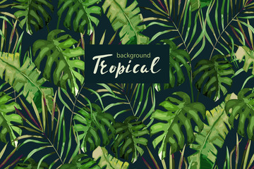 Tropical background for wedding, textile, fabric. Vector seamless pattern